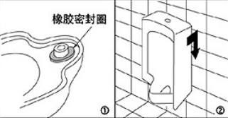 ② 将小便器对准法兰盘和固定螺栓后,安装在挂钩上.