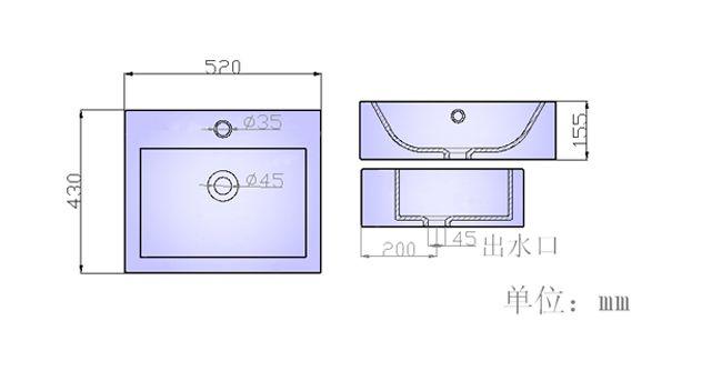 陶瓷洗手盆s034產品結構平面圖圖片